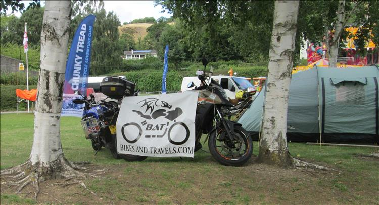 BAT sign and Ren's bike Llangollen Bike Fest