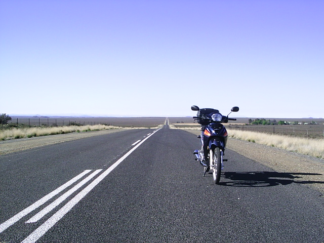 My 2011 Honda Flush WH 125-6 somewhere between Hanover and Phillipstown, Northern Cape South Africa.