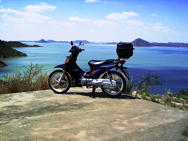 My little scooter bike at the Gariep dam, South Africa's biggest dam.