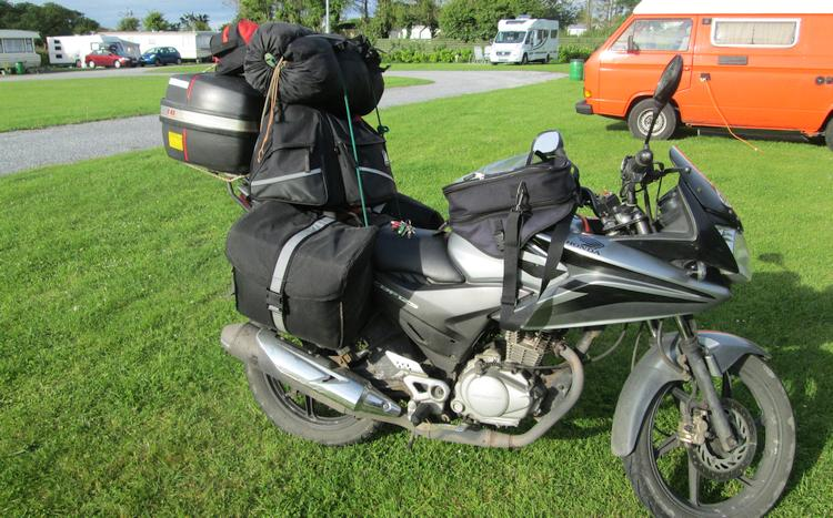 CBF125 with a lot of camping luggage on board