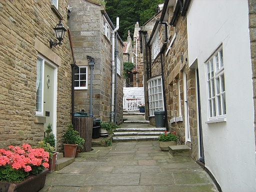 Narrow streets and tiny cottages in Runswick Bay