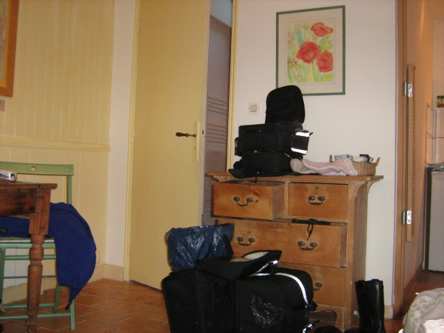 bike luggage and gear ready to be packed at the small studio in honfleur