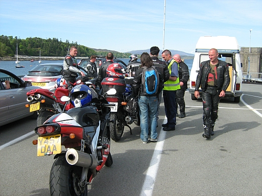 bikes and bikers in the que for the armadale to mallaig ferry