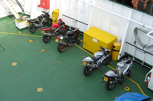 Motorcycles strapped down on the armadale to mallaig ferry