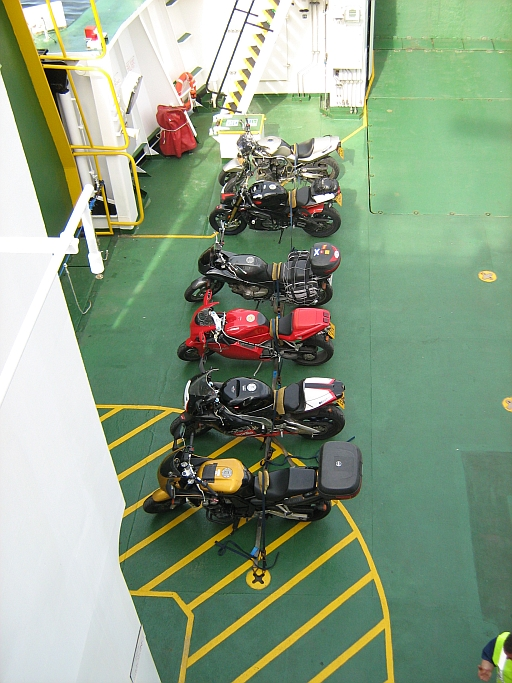 bikes strapped down on the mallaig ferry