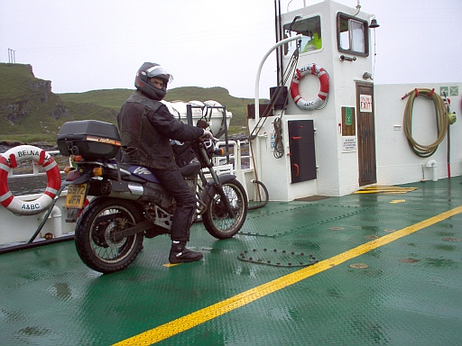 me on my bike on the tiny luing ferry