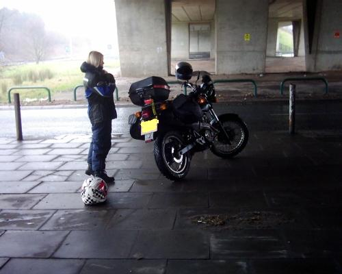 my gf and bike parked under the motorway bridge at preston