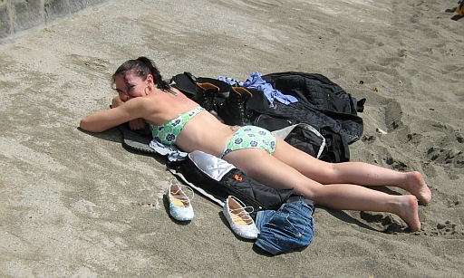 The gf sunning herself on aberdaron beach