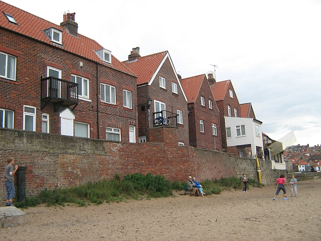 Red-Brick houses on the harbour wall in Whitby