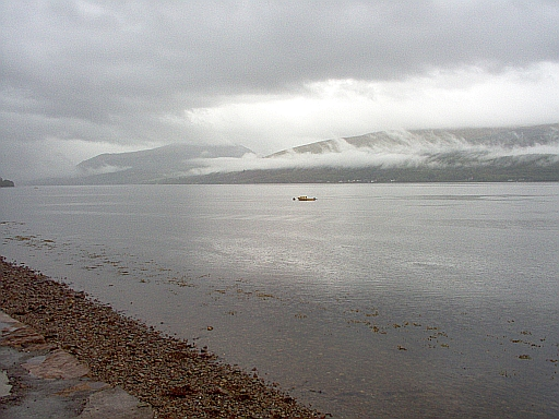 Inverary looking out to misty scottish mountains