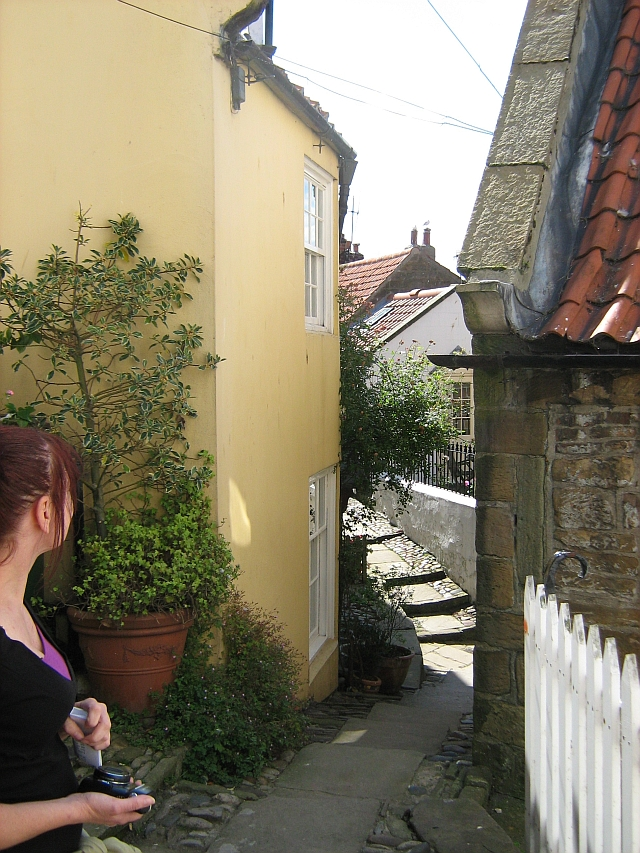 Another narrow street, more of a path, between tiny cottages in Robin Hoods Bay