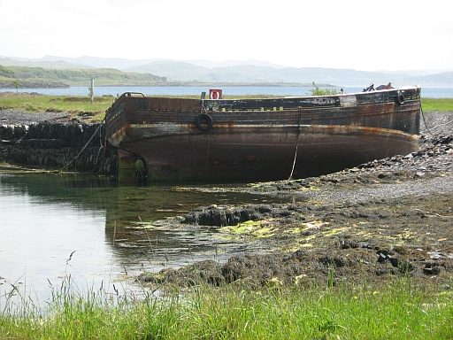 The rusting hulk in Toberonochy Harbour