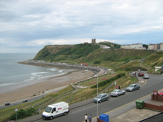 Scarborough castle in the distance viewd from the hotel in the north bay