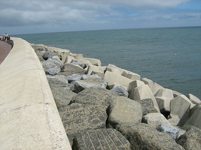 Concrete coastal defences along the promenade is Scarborough