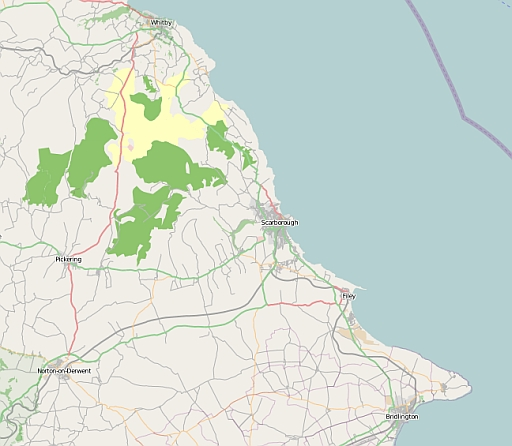 Map covering Whitby in the north, Scarborough in the centre then Bridlington in the south