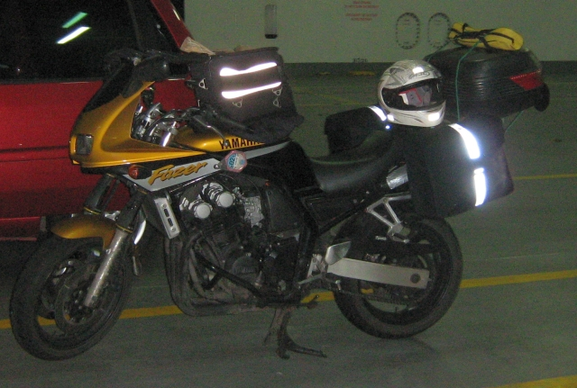 yamaha fazer fzs 600 on the newhaven to dieppe ferry, loaded up with saddle bags and tank bag