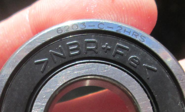 A 6203 bearing with the markings clearly visible