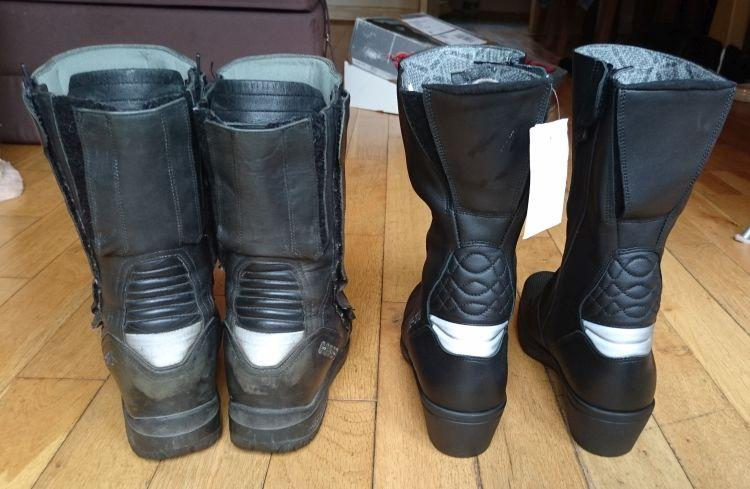 Both pairs of boots seen from the rear with the various methods of getting them on and adjusting them