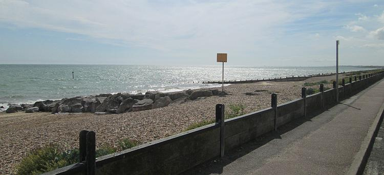 The sea and the gravelly beach at Ferring on the south coast