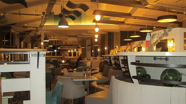 The interior of the bar at Kiln Park is modern and trendy although very quiet this evening
