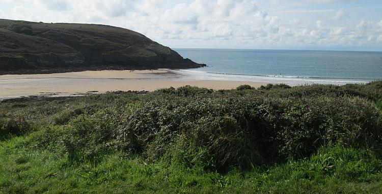 The beach and cover at Manorbier bay