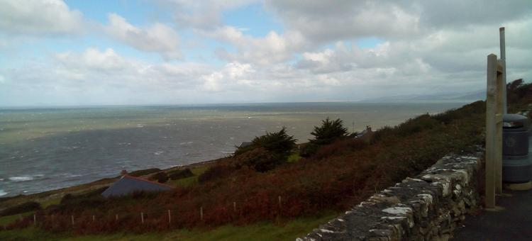 Looking over the sea from the coast of Mid Wales. Big skies and waves