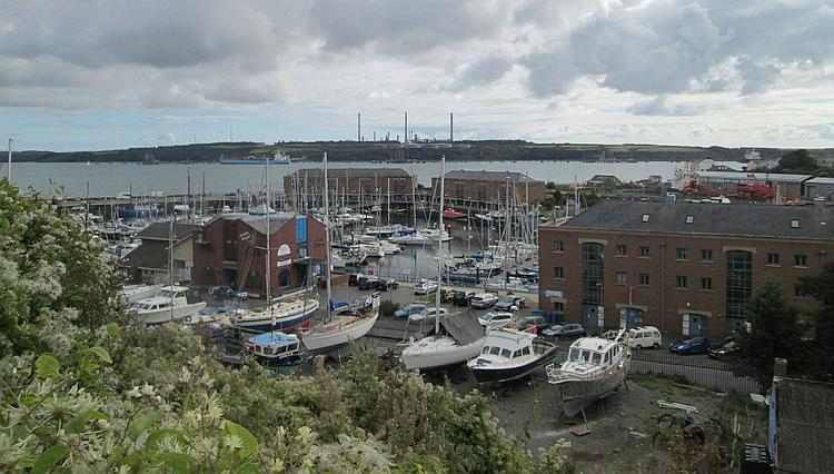 Plenty of small boats and yachts and smart apartment blocks form Milford Haven Marina