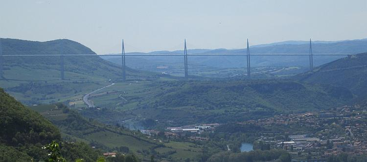 The vast Millau bridge stretches across a whole valley for miles