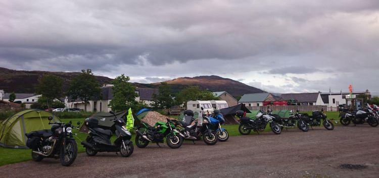 The motorcycles are once again lined up beside the tents at Broomfield campsite