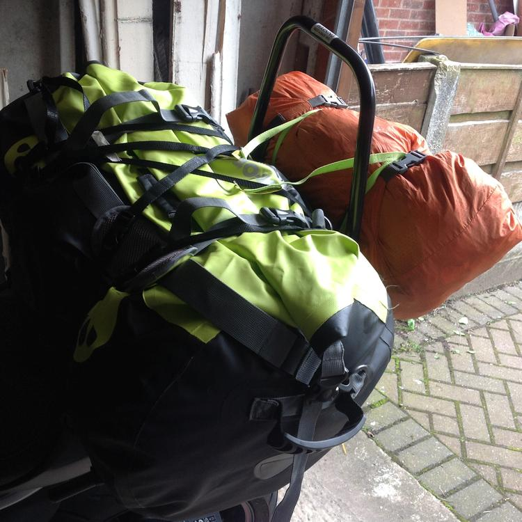 The Oxford Aqua bag and the tent strapped to Stephen's Triumph 765