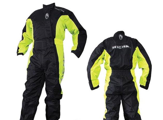 The Richa Typhoon, a one piece oversuit with long zips and velcro