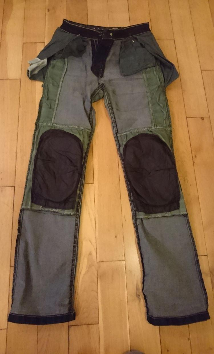 The jeans are inside out and show which parts have kevlar, and which parts don't