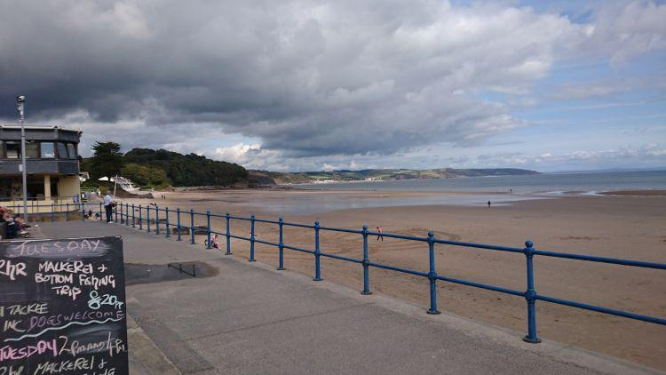 Looking out from the Prom at Saundersfoot is the wide sandy beach and the sea