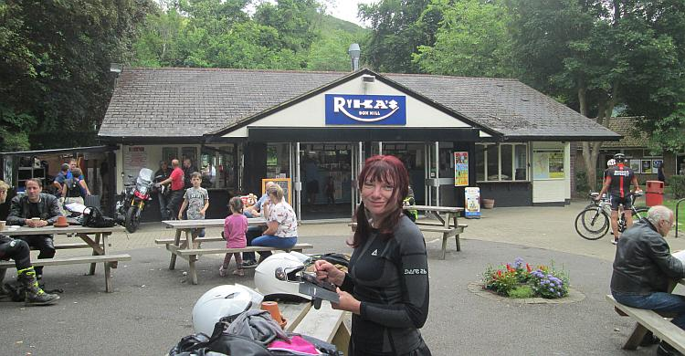Sharon gives the camera a quizzical and dirty look outside Rykas cafe