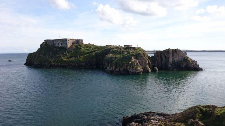 An island only just of the shore with an 19th century fort upon it