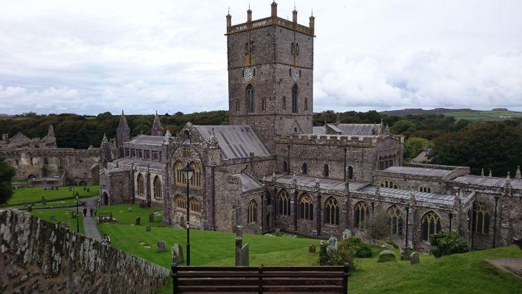 St Davids Cathedral lies in a shallow valley and here is seen from high up