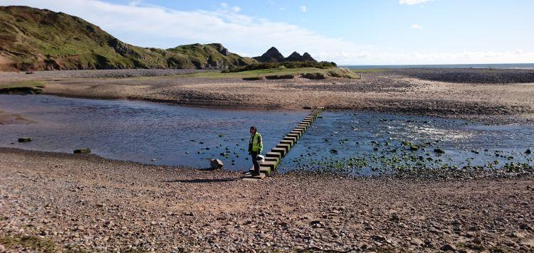A line of square stepping stones is the only dry way to cross the shallow river winding through the beach