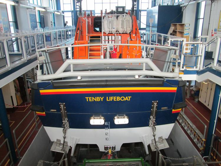 The large Tenby lifeboat in it's smart, modern and impressive boathouse