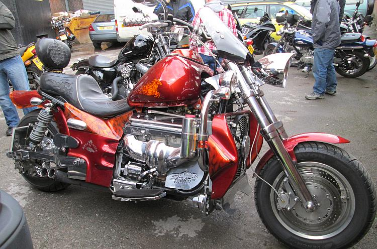 A huge V8 custom built motorcycle