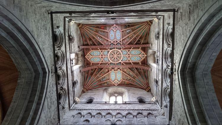 High up in the tower more fan vaulting with colour, artwork, design and shape