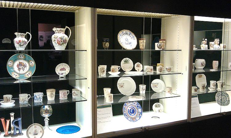 A display cabinet of fine pottery at Sandringham