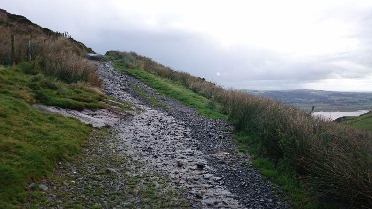 A gravel path mixed with grass and mud leads up the steep hillside