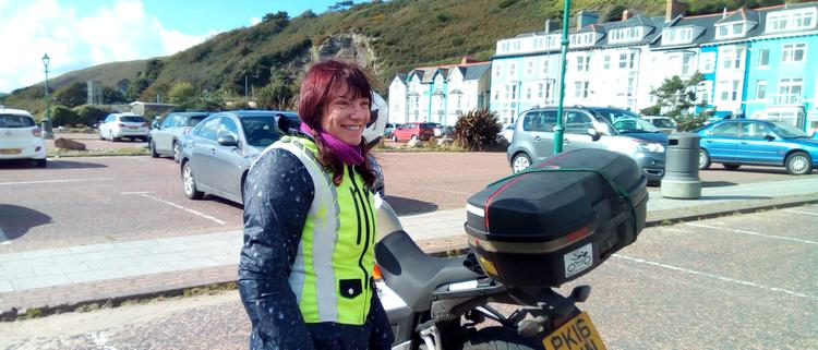 Sharon has a big smile in the breezy sun at Aberdovey