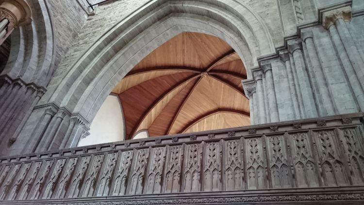 Simpler but effective wood fan vaulting at the cathedral