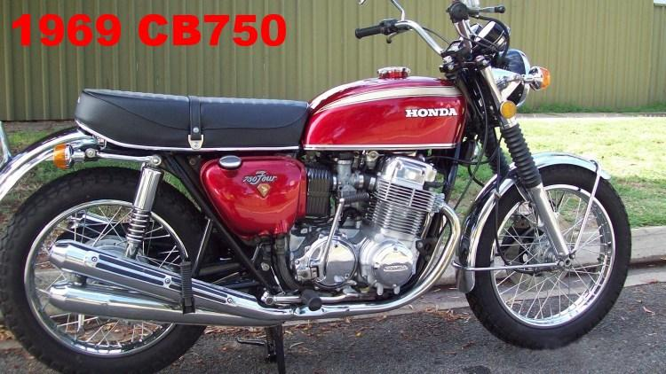 A 1969 Red Honda CB750 motorcycle