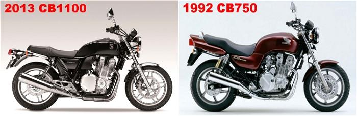 The 2013 CB1100 and the 1992 CB750 in a combined image