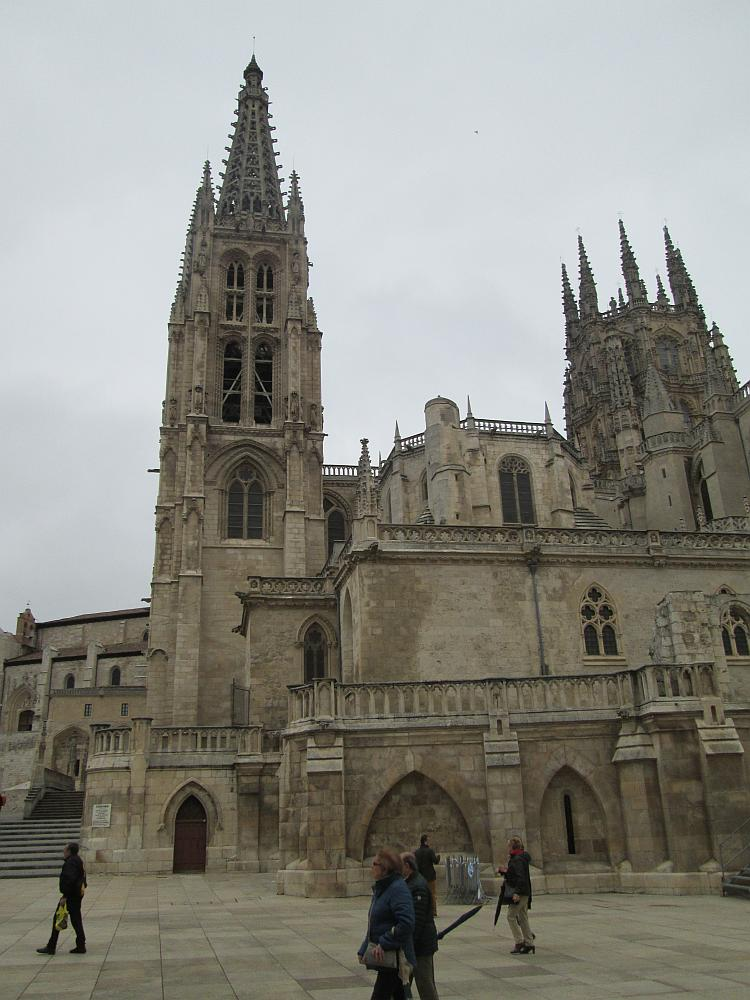 Ornate spires, doors and colonnades at Burgos cathedral