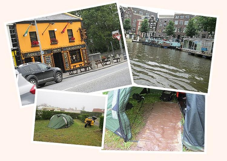 A collage with an Irish pub, a Dutch tall house by the canal and wet muddy camping in France