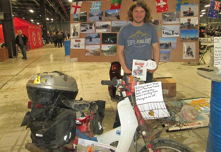 Ed March and his famous worn out beat up C90 at the Manchester stand