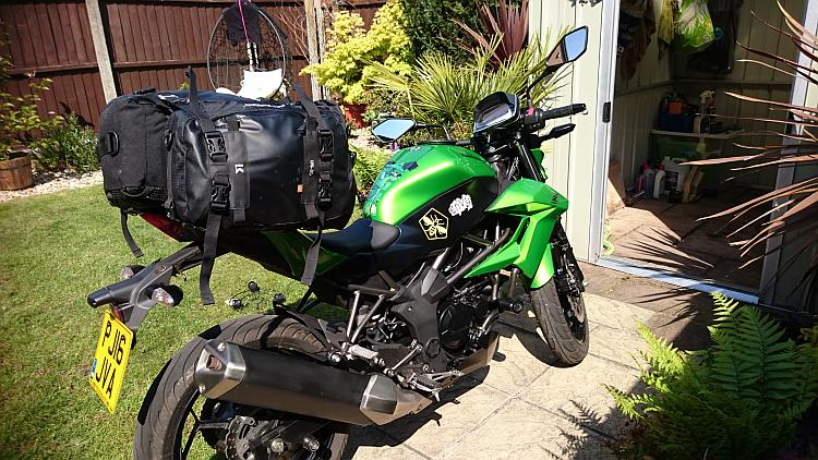 The Kriega luggage on Sharon's small Z250SL